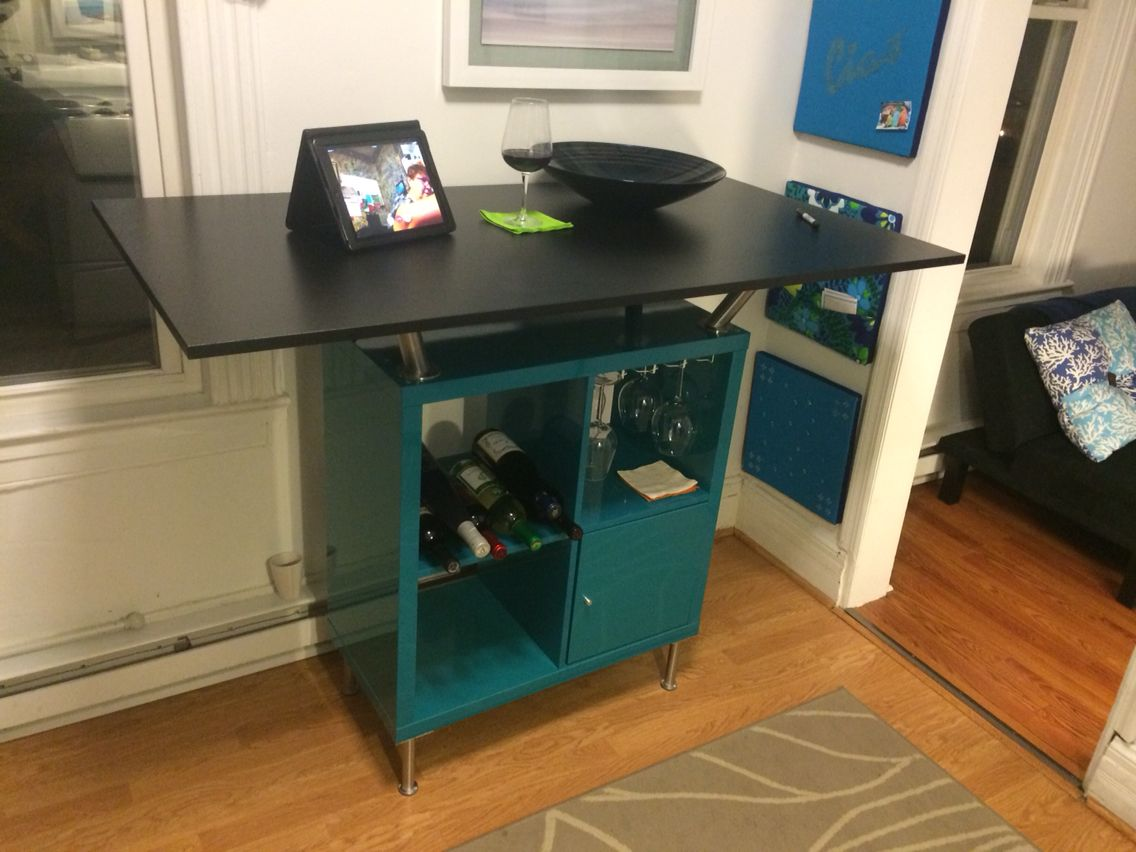 wine bar table ikea kallax capita bracket legs and a. Black Bedroom Furniture Sets. Home Design Ideas