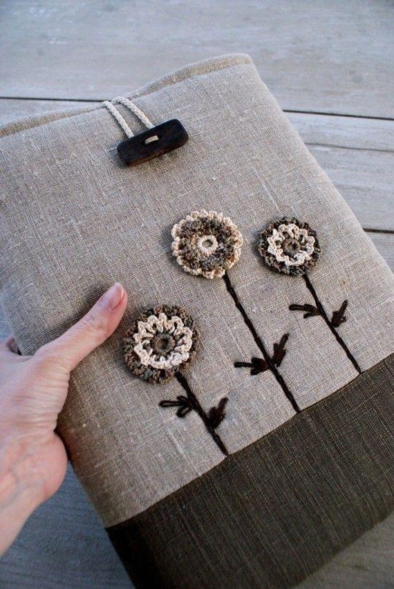 laptop h lle f r macbook 13 zoll leinen h keln n hen. Black Bedroom Furniture Sets. Home Design Ideas