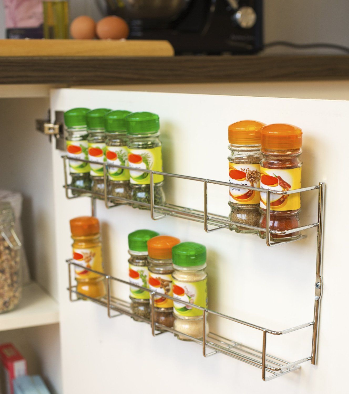 5 Tier Spice Herb Jar Rack Holder For Kitchen Door Cupboard Or Wall Storage Unit