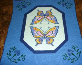 Butterfly Beautiful Blue - Crochet Afghan Afghans Throw Blanket   - Extremely Beautiful Butterflies -