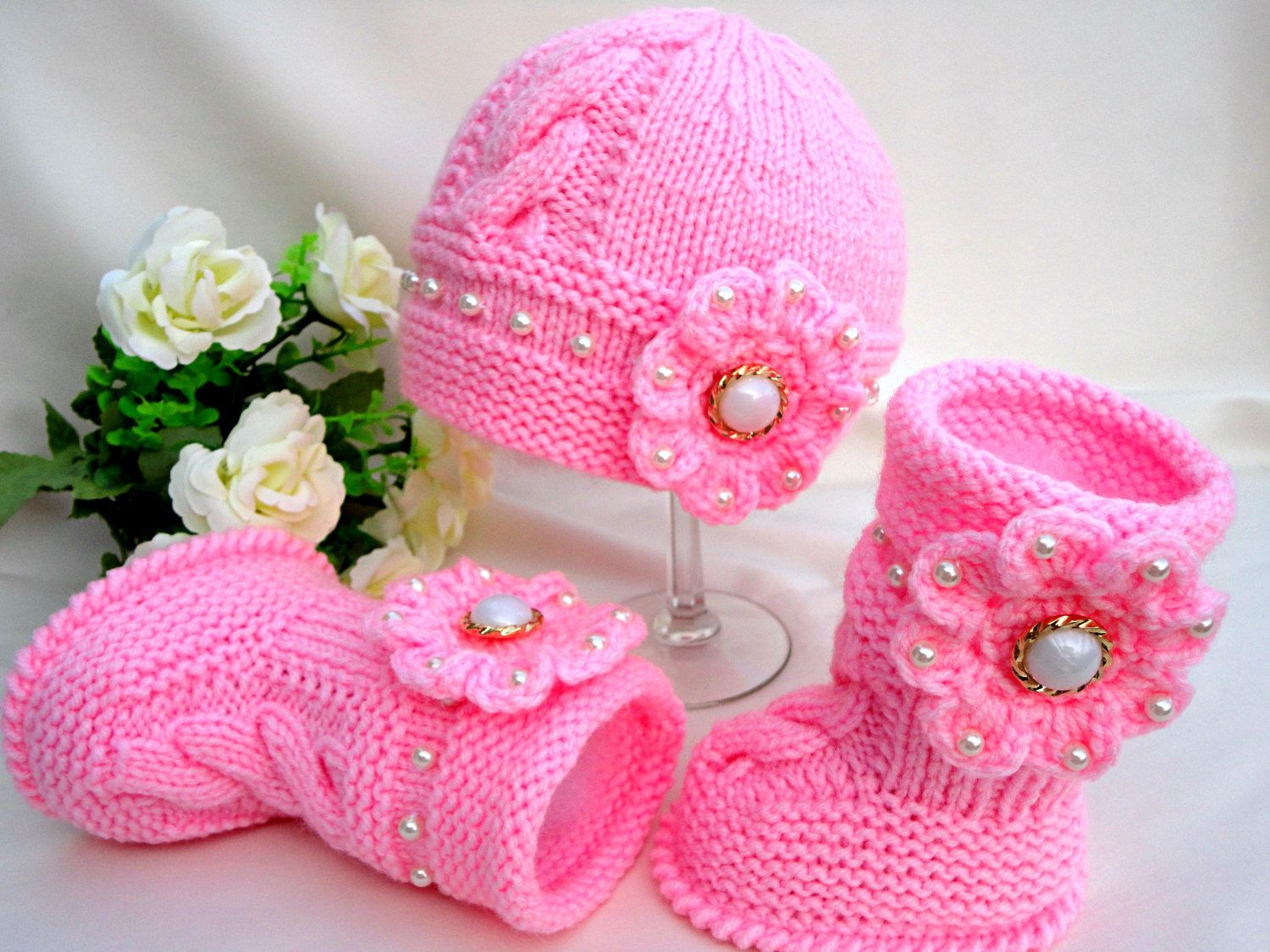 Knitting PATTERN Baby Set Knitted Baby Hat Baby Shoes Infant Newborn ...