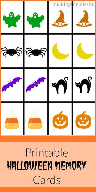 Halloween Memory Game Free Printable Game cards, Free printable - free printable apology cards