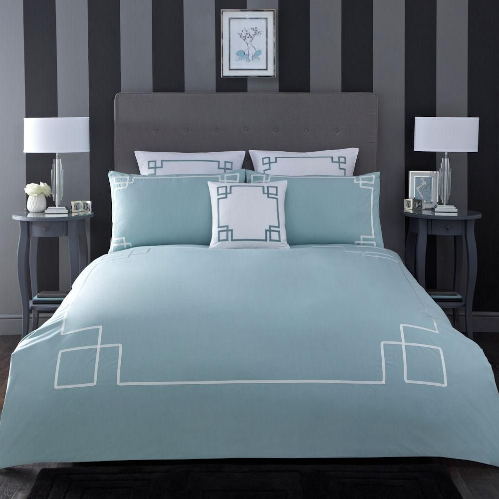 Bed cover in bedding ebay - Boutique Apollo Duck Egg White Sea Green Border Cotton Duvet Quilt Cover Bedding
