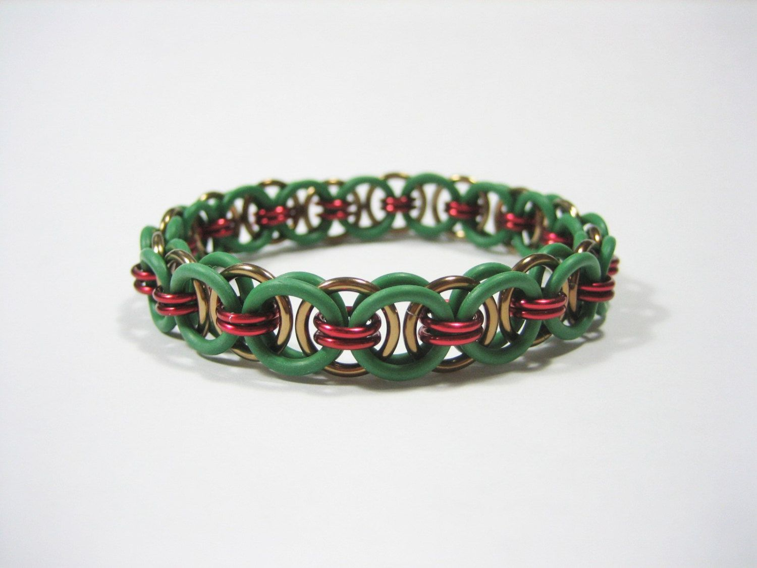 TMNT Themed Stretchy Chainmaille Bracelet (Raphael) - Helm (Parallel) Chain Weave by Sneath on Etsy