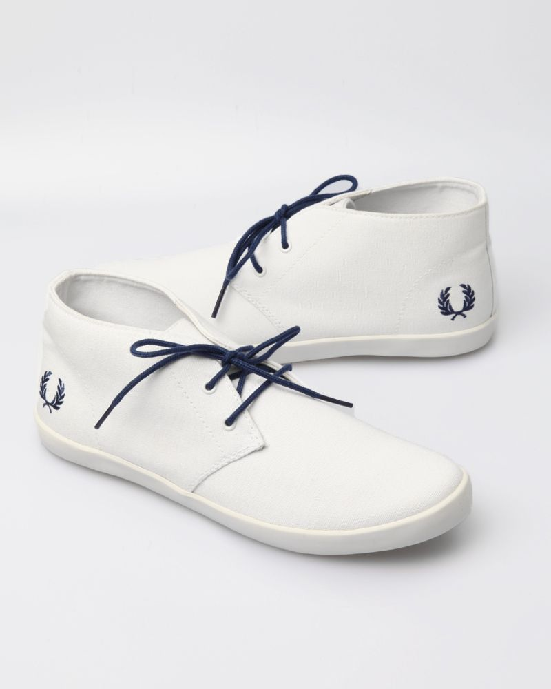 Fred Perry Men's Byron Mid Canvas Shoe - White/ Navy
