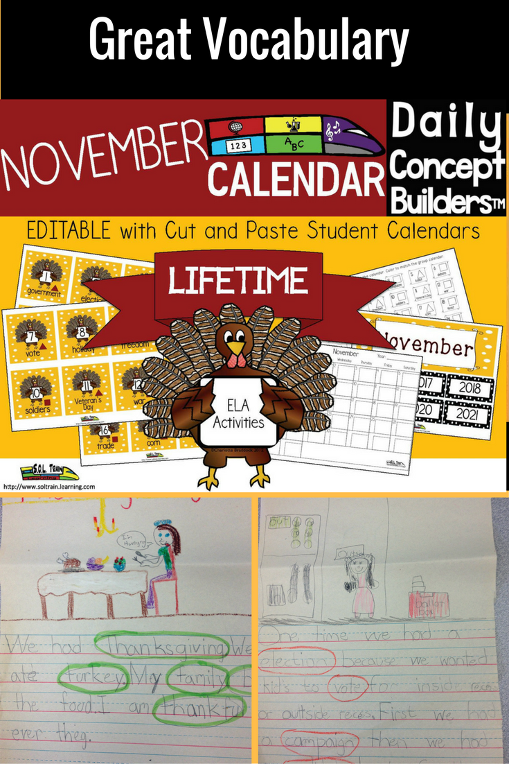 This November calendar is now editable! It is a vocabulary tool that every teacher should have in his or her arsenal. There is a November word on each turkey calendar card. So much more than a November calendar, or word of the day resource, this November product provides numerous teaching opportunities during the month of November for you and your kiddos. It has helped with writing skills as well! We have provided a teacher guide for your calendar time, as well as a  guide for student…
