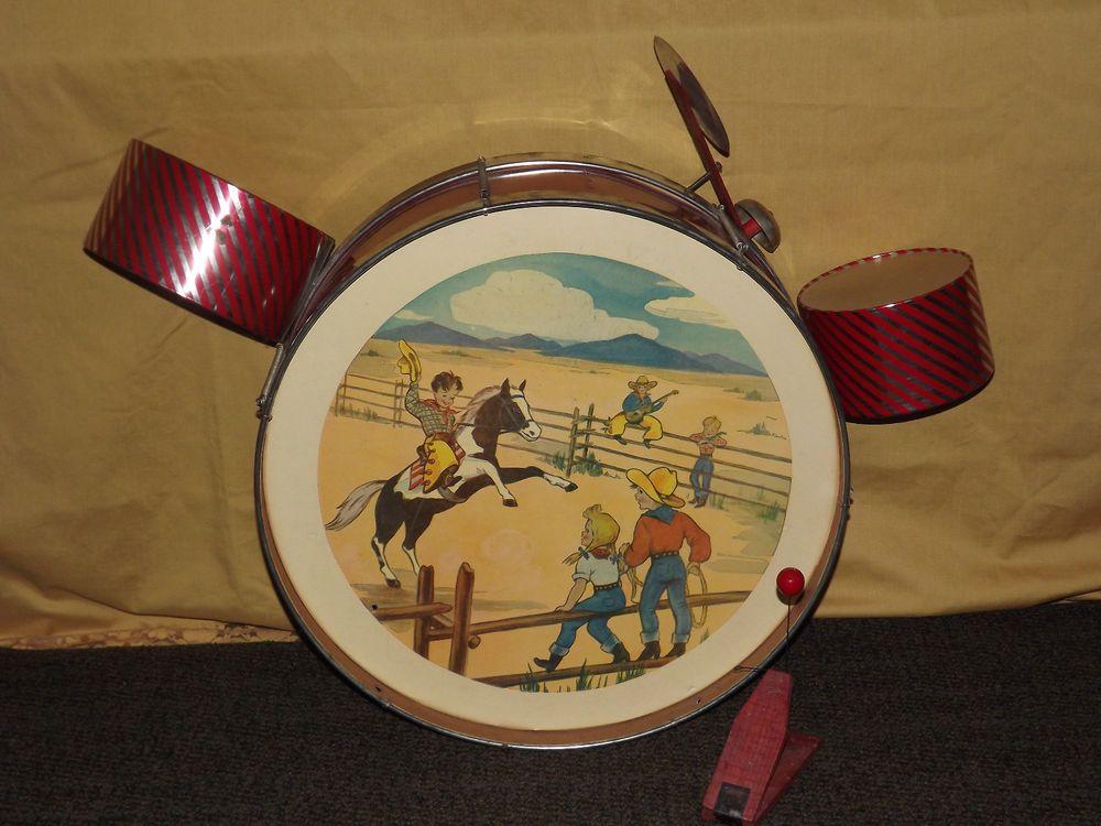 VINTAGE TOY 1960S CHILDS WESTERN COWBOY HORSE DRUM SET NICE