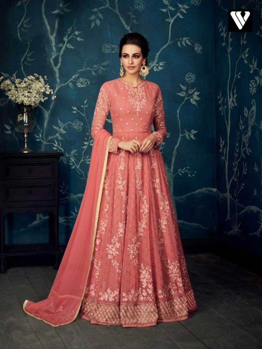 a123c70595 Gajri Georgette Net Embroidery Party Wear Abaya Style Anarkali Suit ...