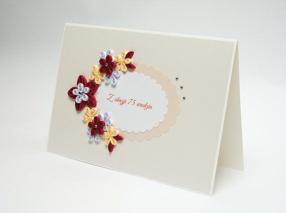 Beautiful 75th Birthday Card Quilling Quilled By PaperParadisePL