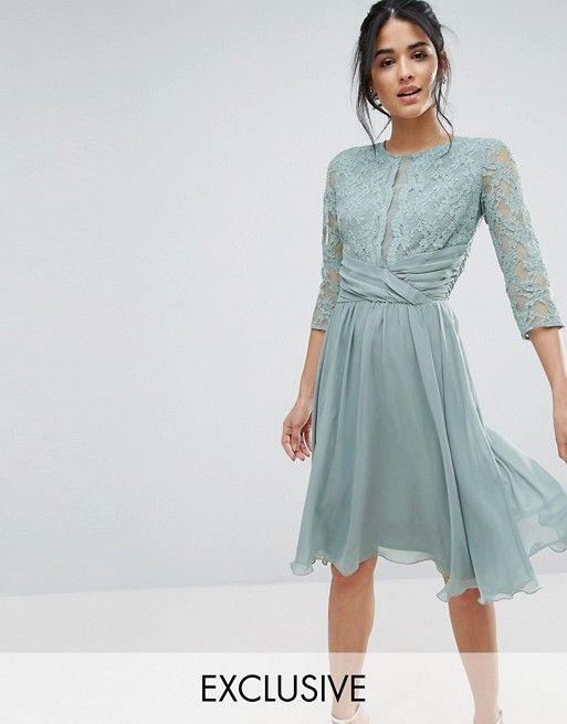 Elise Ryan Ruched Waist Lace Midi Dress | Pinterest | Hochzeitsgäste ...