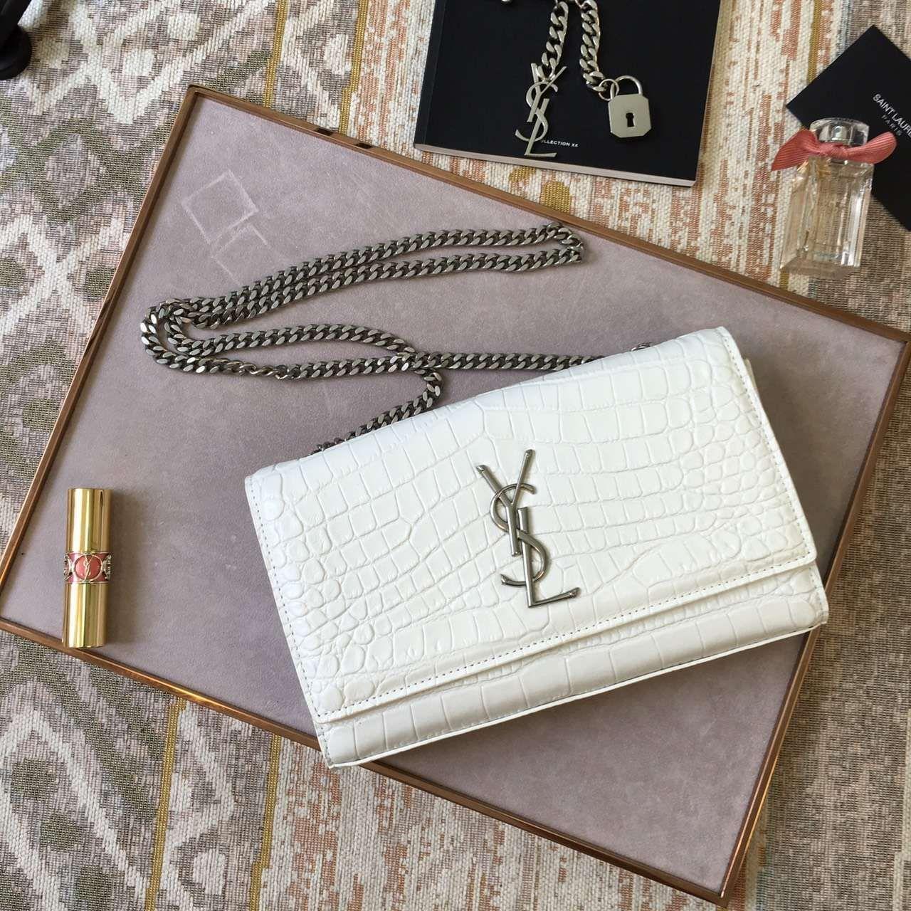 35951b7f332 S/S 2016 New Saint Laurent Bag Cheap Sale-Saint Laurent Medium Monogram  Satchel in Dove White Crocodile Embossed Leather