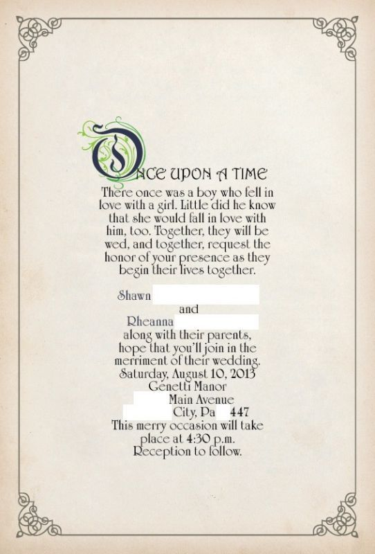 Once Upon A Time Story Book Theme Invitation Found On Weddingbee