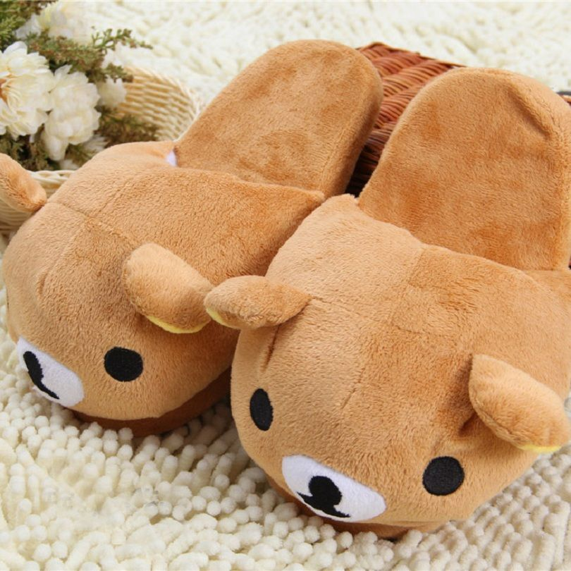 Women Lovely Bear Soft Plush Winter Warm Home Indoor Slippers Shoes