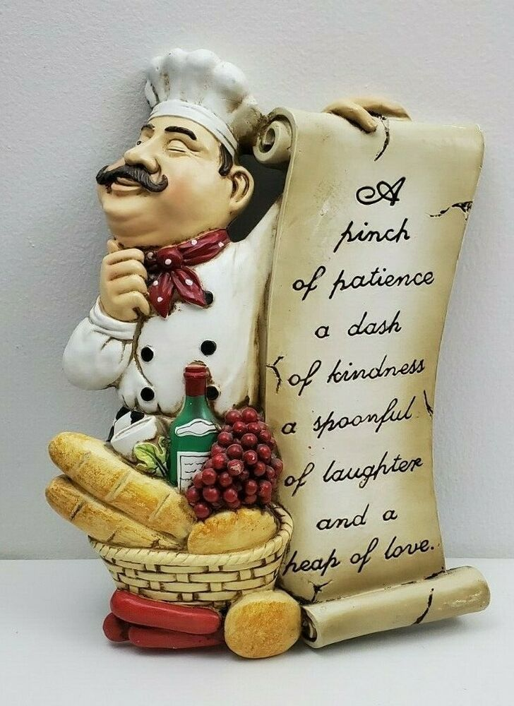 ITALIAN CHEF KITCHEN WALL PLAQUE DECOR 3D Wine Grapes