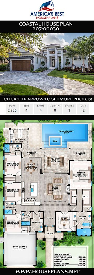 House Plan 207 00030 Coastal Plan 2 986 Square Feet 4 Bedrooms 4 Bathrooms En 2020 Planos De Casas Casas Mediterraneas Casas Modernas