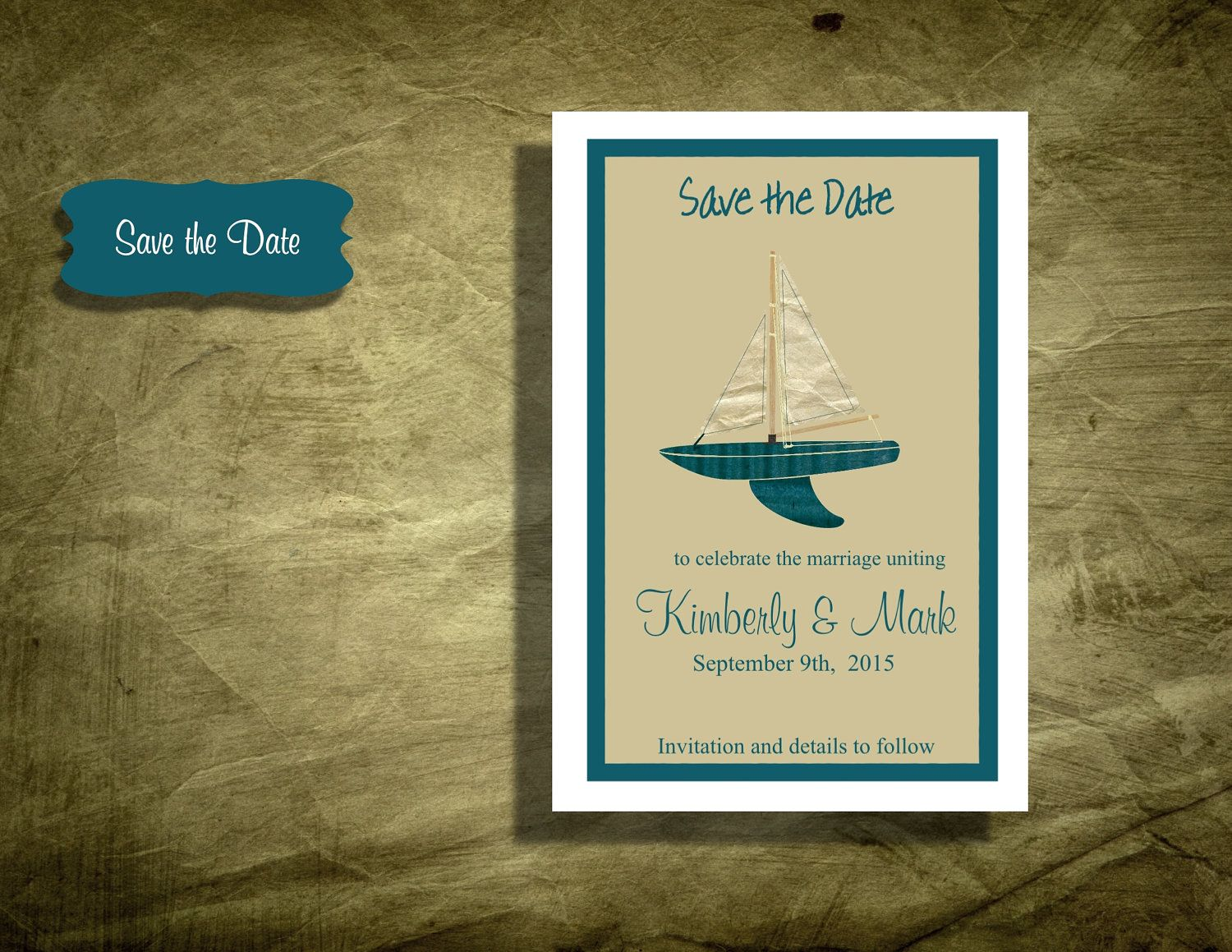 100 Wedding Save the date Magnets Sailboat by OneStopInvites ...