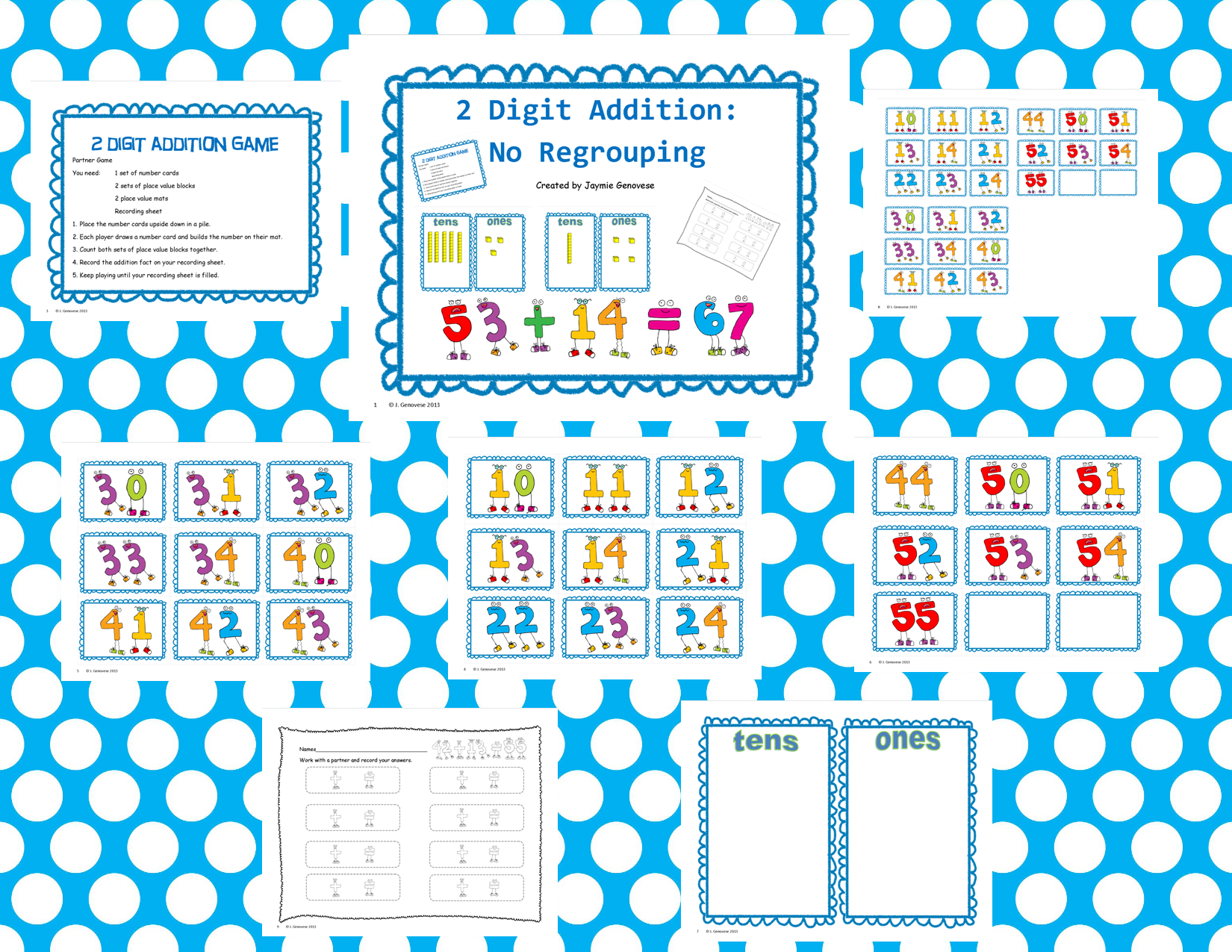 Two Digit Addition No Regrouping 1.NBT.4 and 2.NBT.5 | Math, Common ...