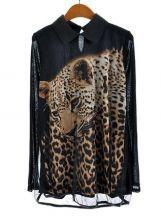 Black Lapel Mesh Yoke Leopard Print Blouse $30.32