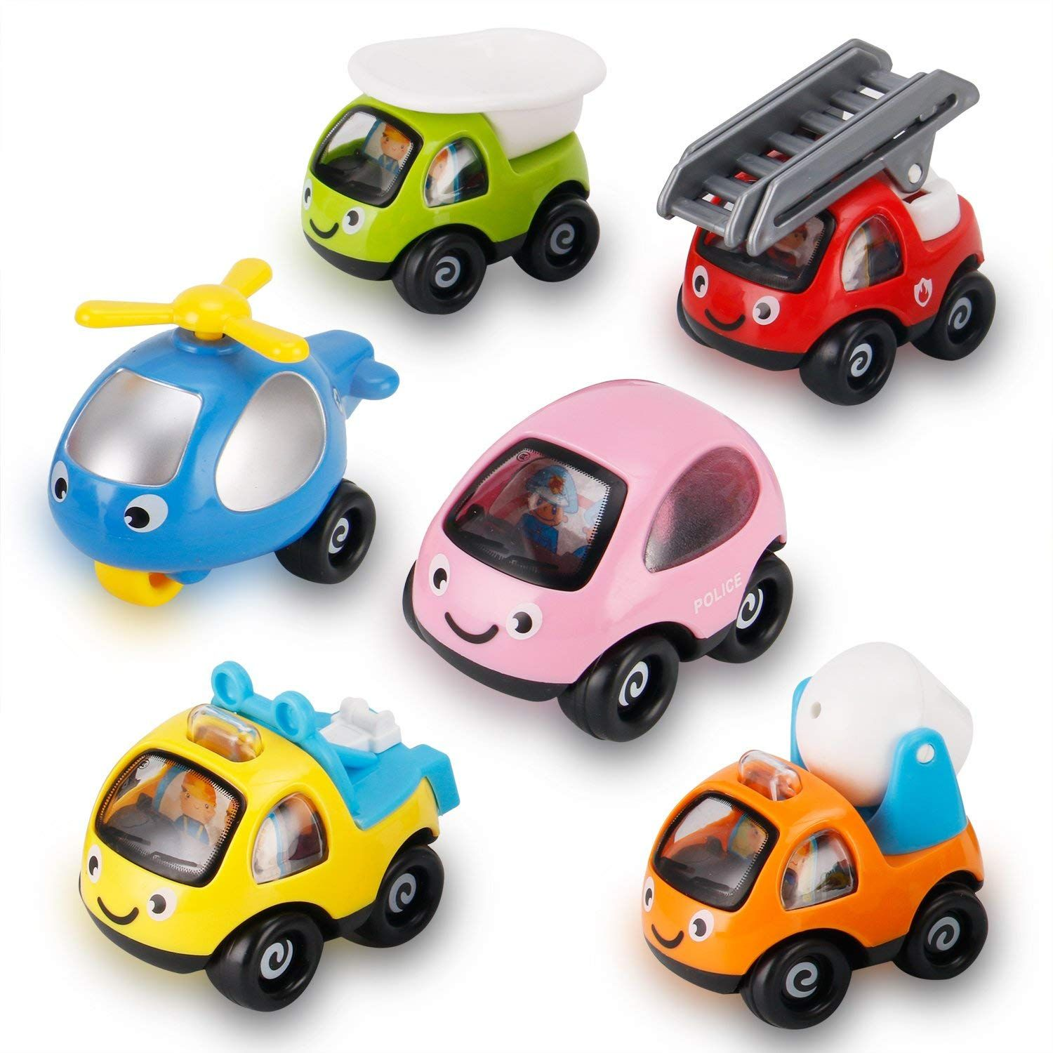Assorted Colorful Cartoon Cars And Trucks Fun Play Toy Vehicles
