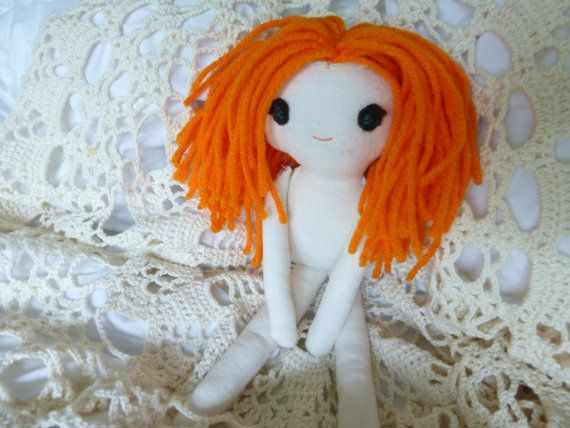 SALE Rag doll with orange hair fabric doll cotton by FortyRavens