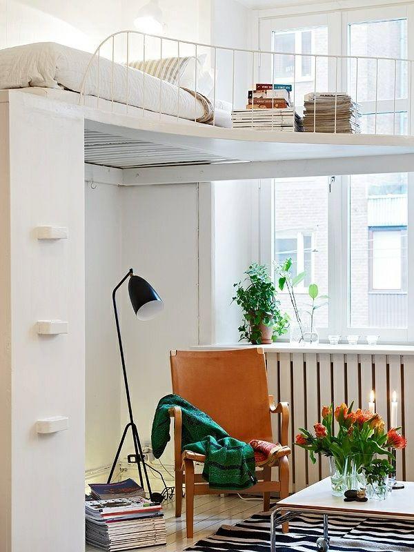 kleines ambiente praktisch einrichten hochbett zimmerideen - wohnideen kleine wohnzimmer