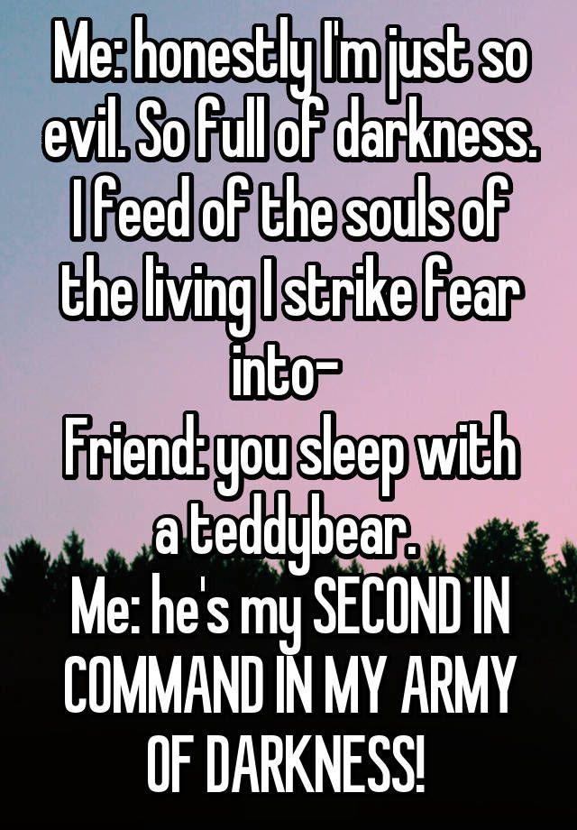 Me: honestly I'm just so evil. So full of darkness. I feed of the souls of the living I strike fear into- Friend: you sleep with a teddybear. Me: he's my SECOND IN COMMAND IN MY ARMY OF DARKNESS!