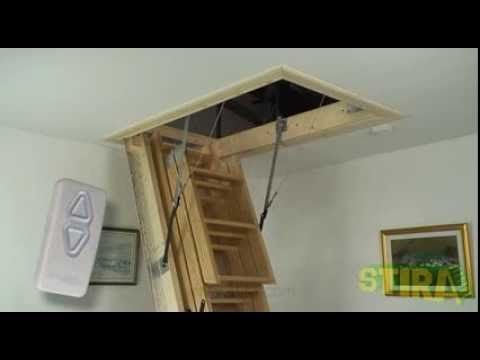 Skylark Electric Foldaway Remote Control Attic Stairs Youtube Attic Renovation Attic Remodel Attic Storage