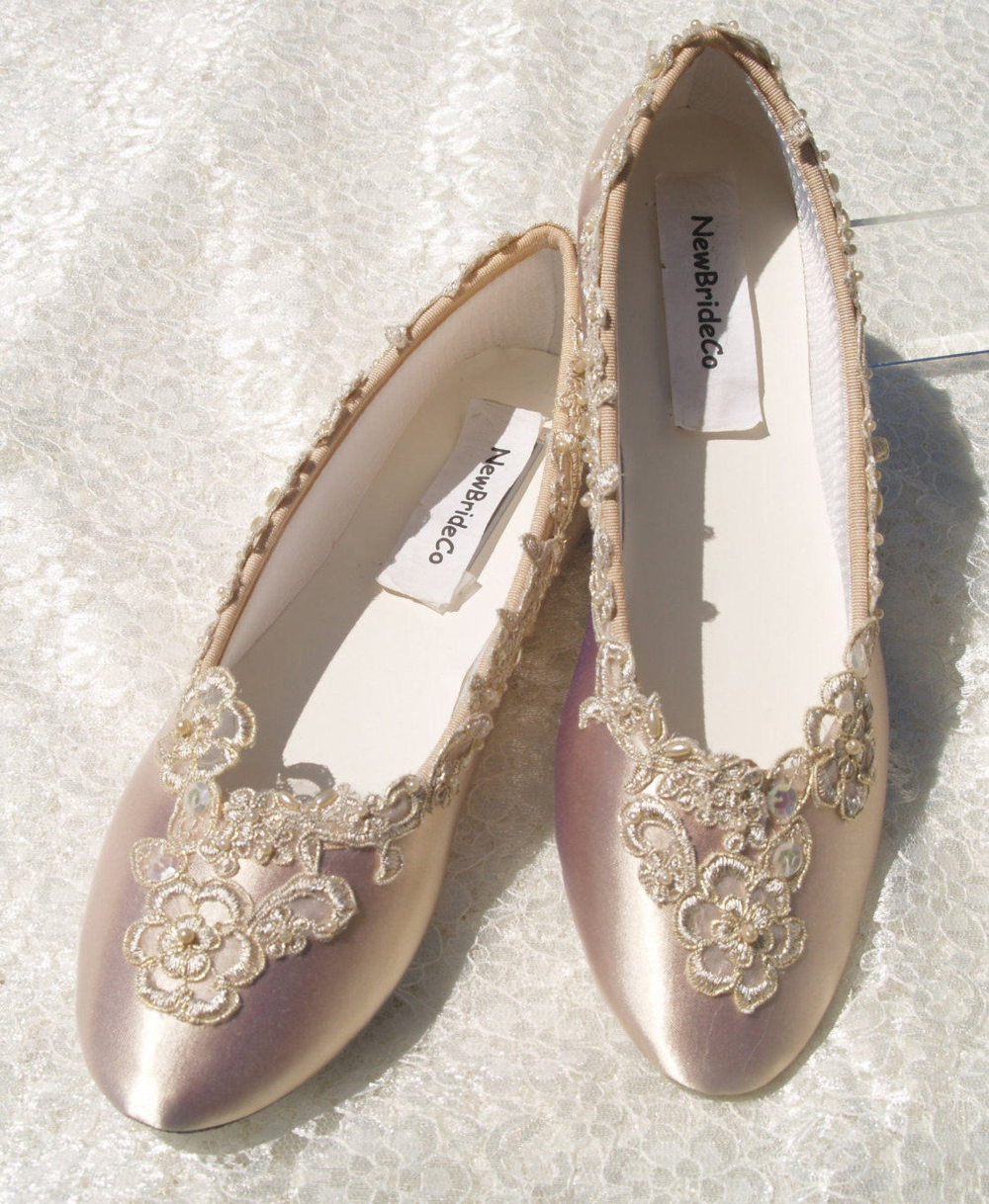 Champagne Wedding Flats Bridal Shoe elegantly gold trimmed