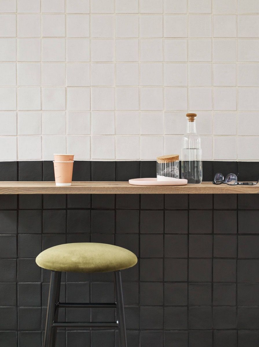 Tirreni Black Matt Glazed Tile Shown On The Wall With Matt White Black Tile Bathrooms Wall And Floor Tiles Kitchen Tiles