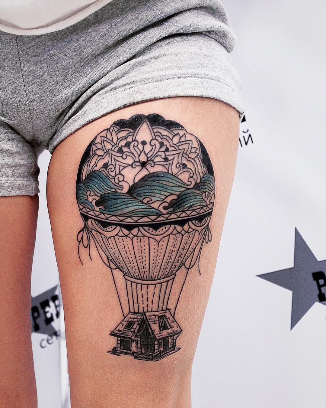 48 Incredible Hot Air Balloon Tattoo Designs | Hot air balloons ...