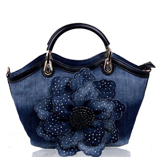 4742128db405 Flying birds Women Denim Bags Sweet Blue Rose purse High Quality Handbags  With Diamond