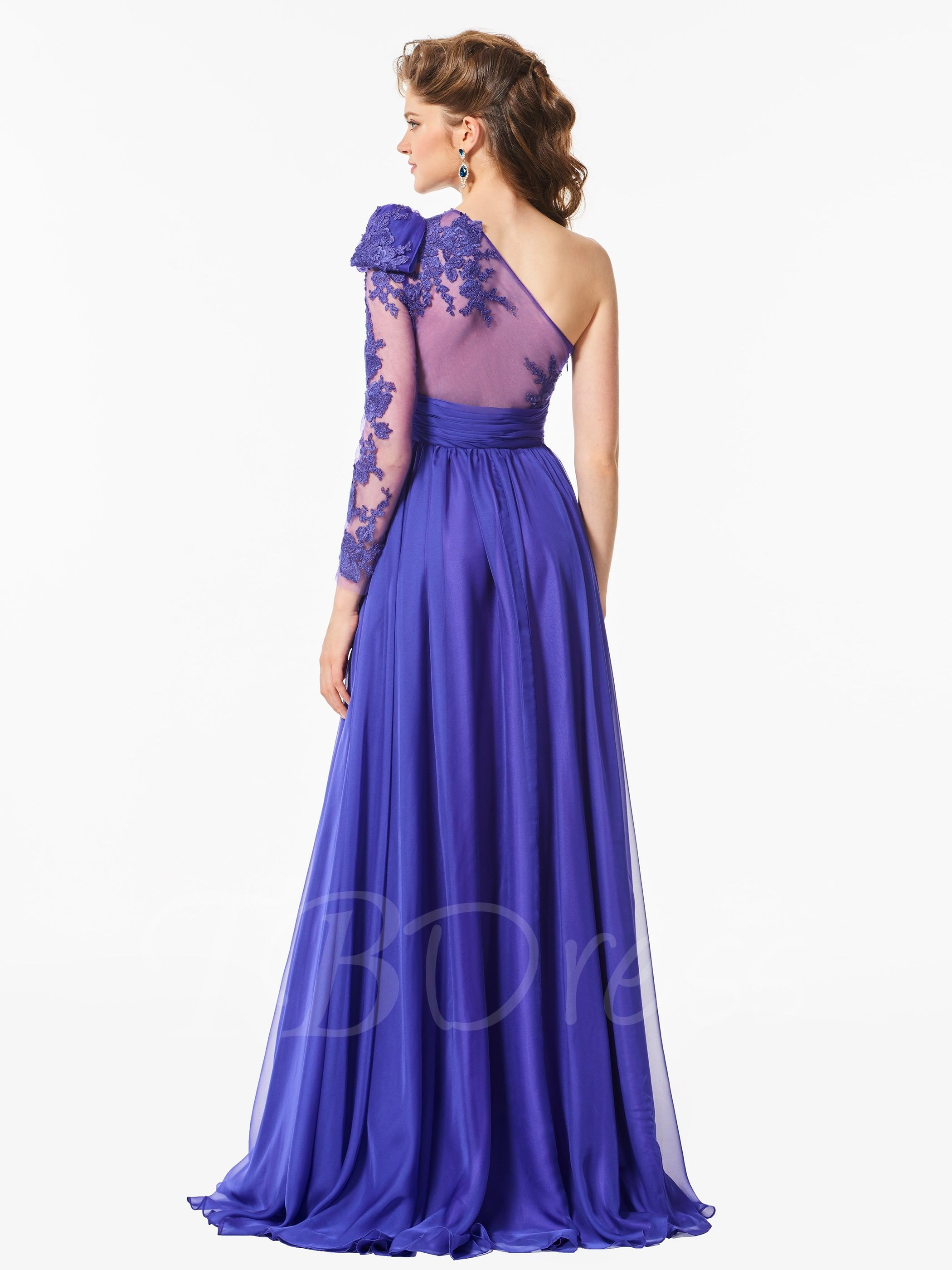 Long Sleeves One-Shoulder Appliques A-Line Bowknot Sashes Prom Dress ...