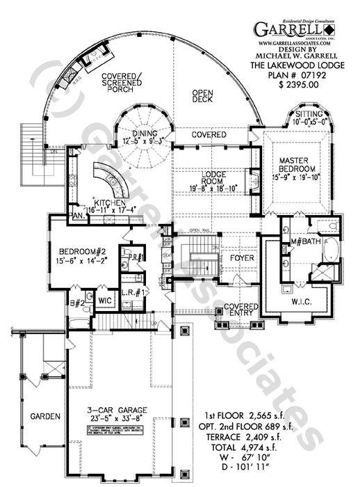 Lakewood Lodge House Plan 07192, 1st Floor Plan, Mountain Style House Plans, Rustic Style House Plans