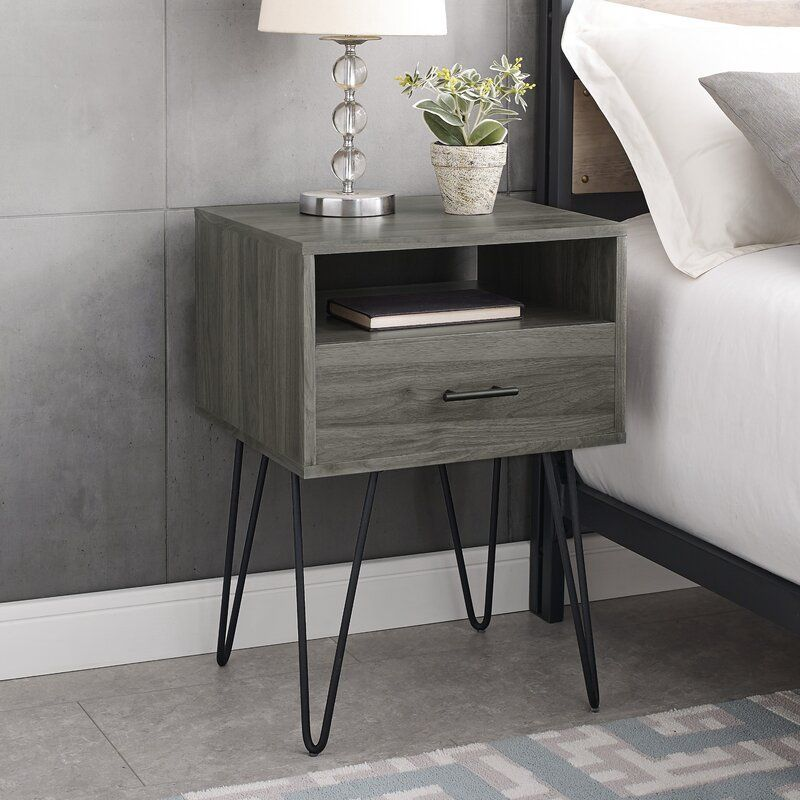 Kamille Single Hairpin Leg 1 Drawer Nightstand In 2020 Wooden