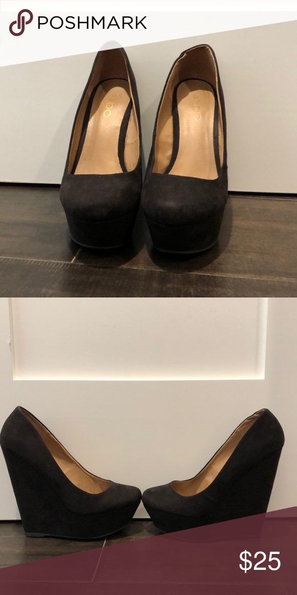 af54384548 Aldo wedge heels Used aldo black 4 inch wedge heels. Suede. Size 7. Aldo  Shoes Heels