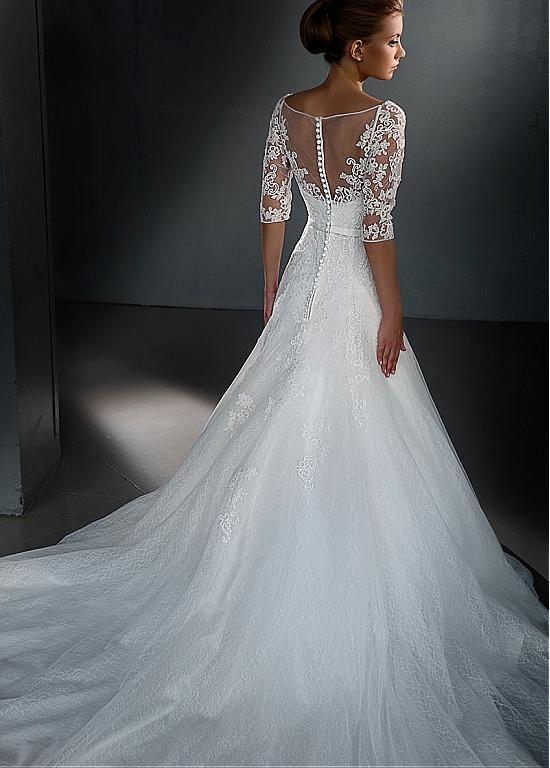 Buy discount Elegant Tulle Bateau Neckline A-line Wedding Dresses ...