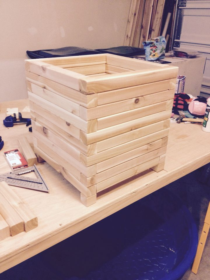 Planter Box Using Cedar 2x2 Just Need To Seal It Then It S Good To