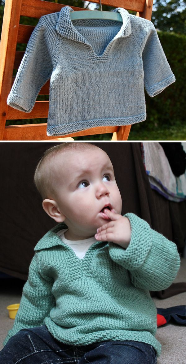 Free Knitting Pattern for Easy Baby Telemark Pullover #babyyarn