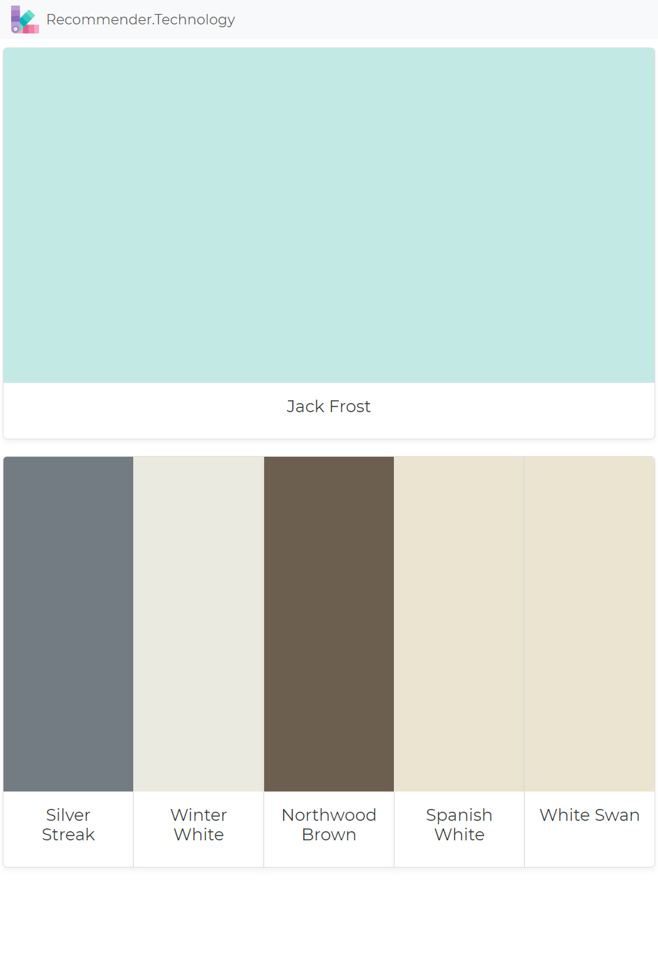 Jack Frost Silver Streak Winter White Northwood Brown Spanish White White Swan Paint Colors Benjamin Moore Paint Color Palettes Perfect Paint Color