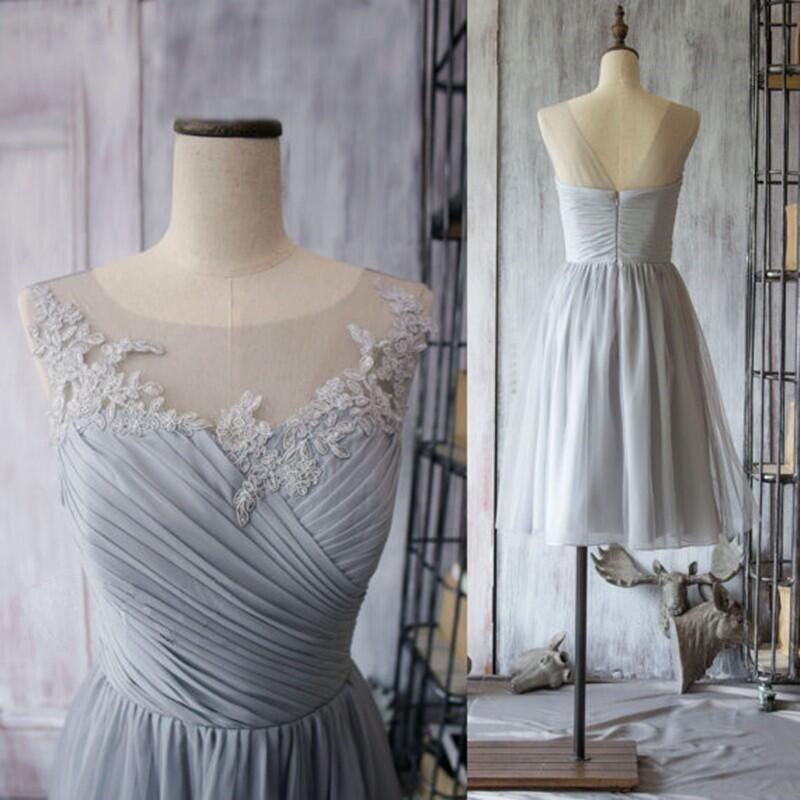 light gray chiffon dress knee length