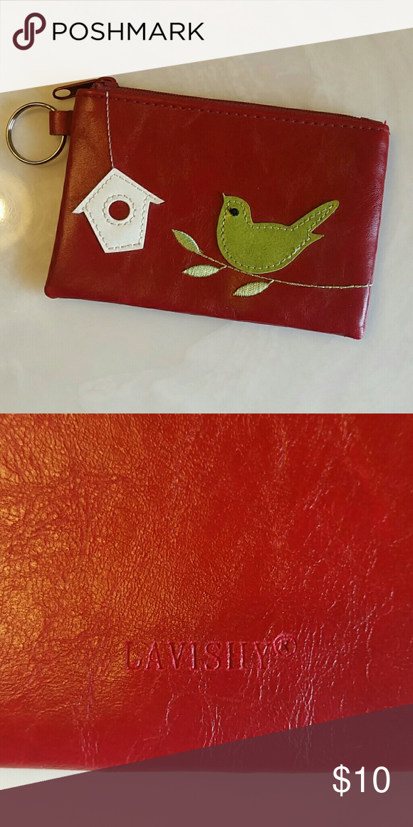 Lavishy Pouch Cute pouch with bird.  Zips up and has a ring to attach keys, wrist strap, etc.  Vegan! Lavishy Bags Clutches & Wristlets