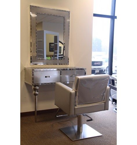 Minerva axis stainless steel styling station salon for Salon stations