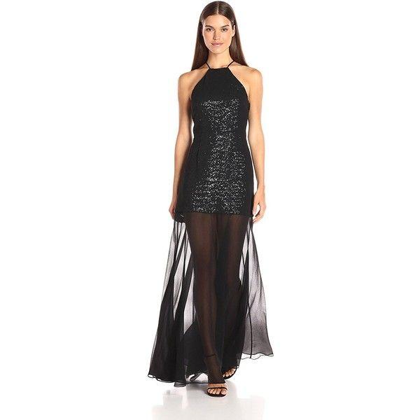 HALSTON HERITAGE Women's Halter Neck Sequin Hi-Low Dress ($219) ❤ liked on