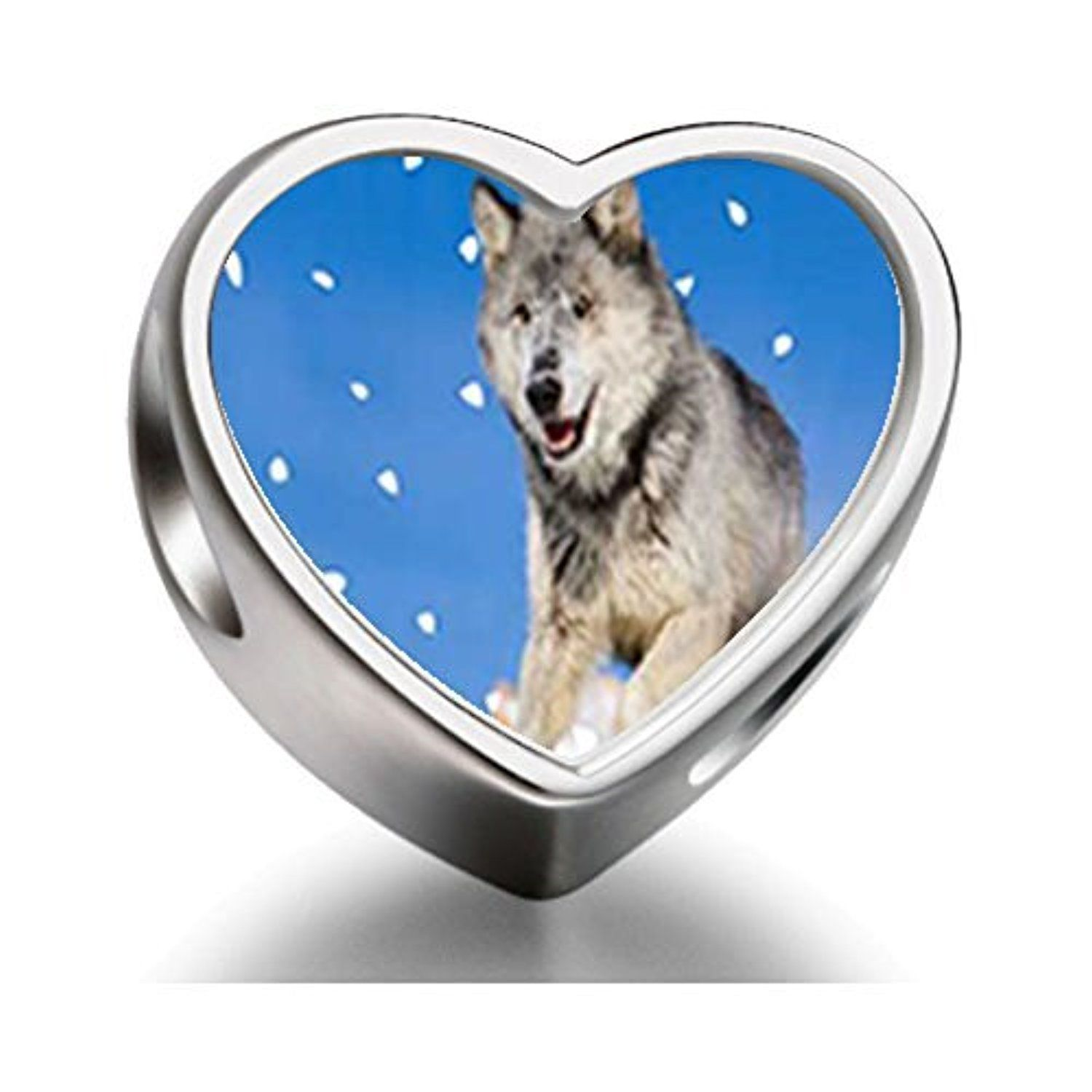 Running Wolf Heart Photo Charm Beads by FERVENT LOVE -- Awesome products selected by Anna Churchill