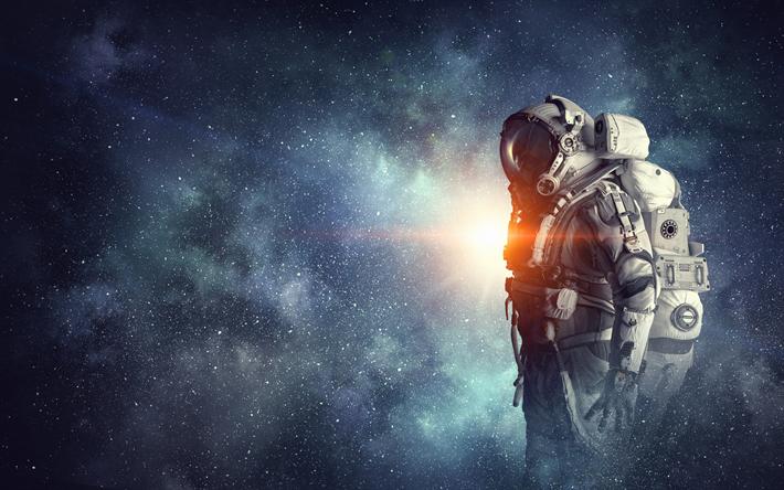 Download Wallpapers Astronaut Open Space Space Flight Starry Sky Besthqwallpapers Com Astronaut Wallpaper Space Art Wallpaper Space Art