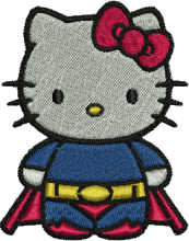 Super Kitty Embroidery Design