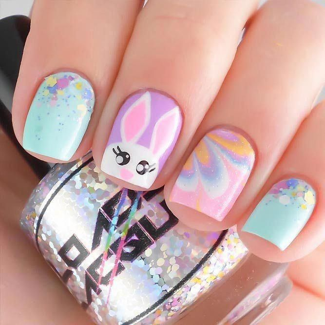Amazing Designs Of Easter Nails Rabbit Easter Nail Art Ideas