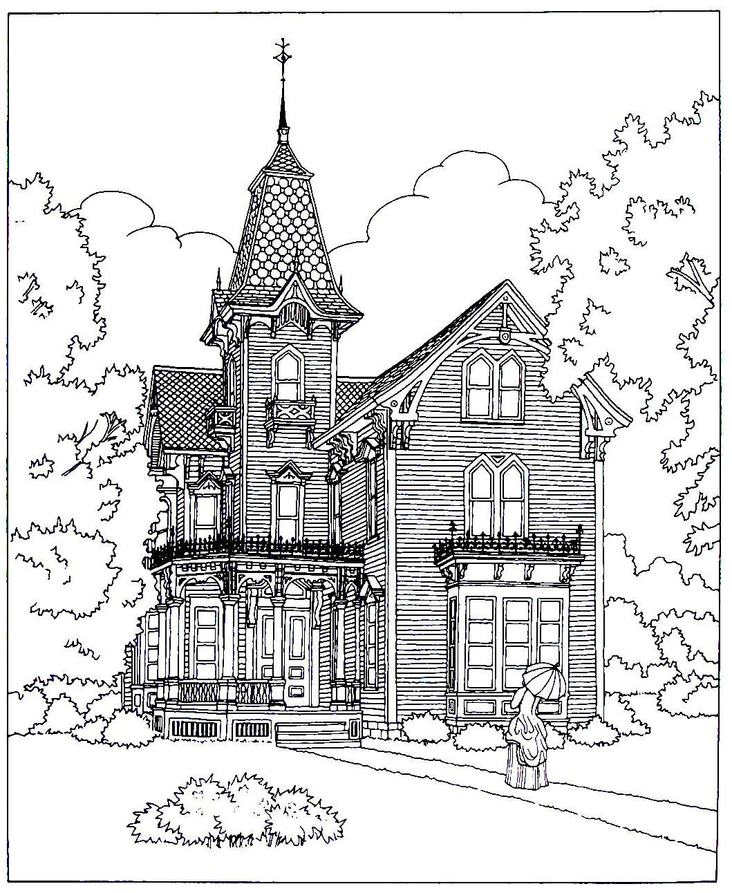 Victorian House printable coloring book page. A High