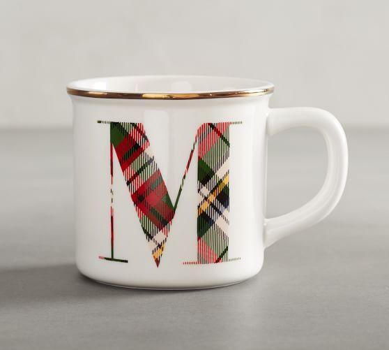 Plaid Alphabet Mug Alphabet Mugs Mugs Pottery Barn