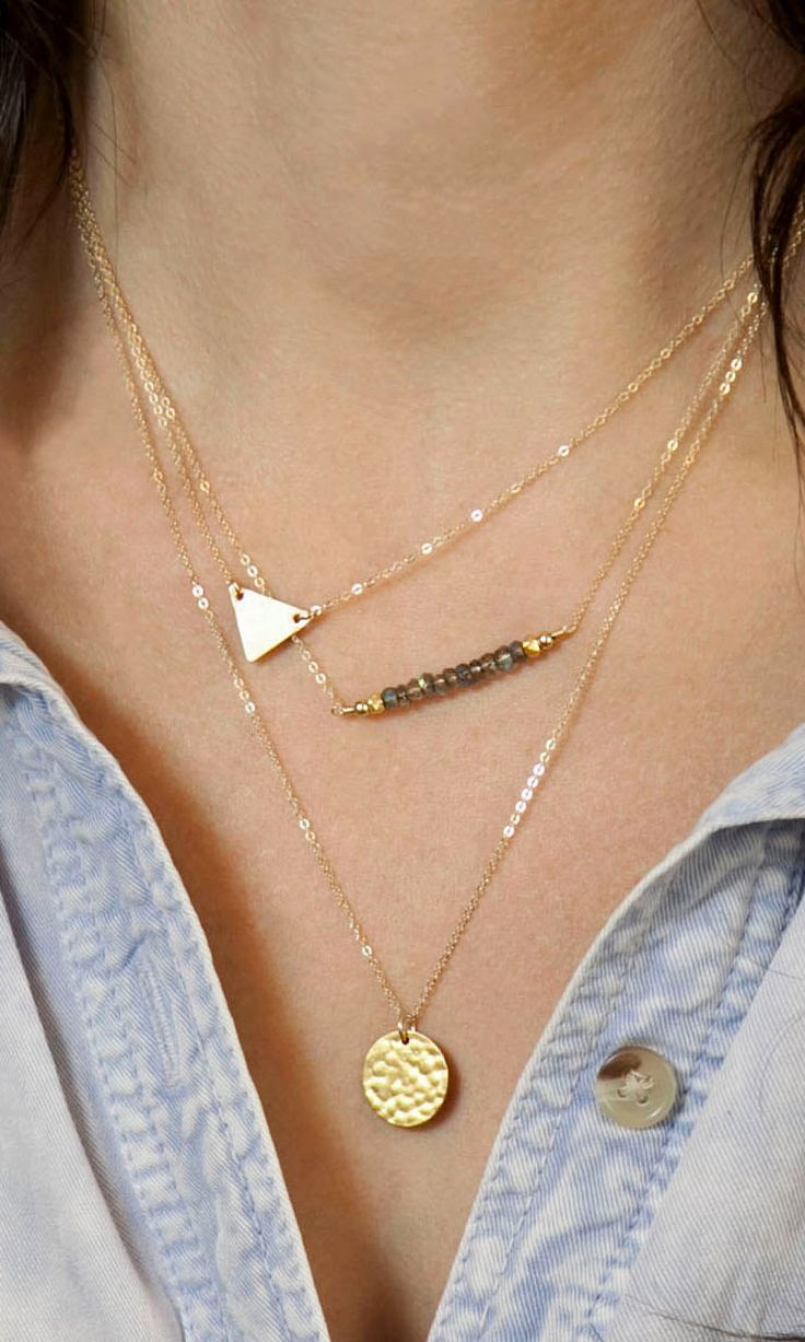 Women\'s Three Layers Gold Short Necklace | Layering, Delicate and ...
